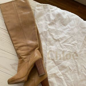 Chloe Knee-High Tan Leather Boots size 37.5